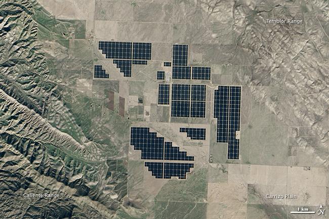 Satellite image of the 550-megawatt Topaz Solar Farm in California, US