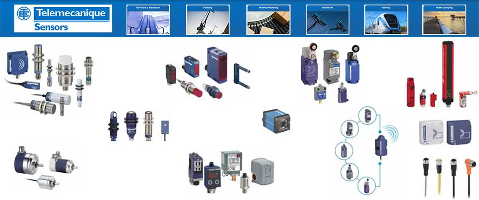 Telemecanique Limit Switches, Telemecanique Inductive Sensors, Telemecanique Capacitive Sensors, Telemecanique Photoelectric Sensors, Telemecanique Photoelectric range, Telemecanique Ultrasonic Sensors, Telemecanique Pressure sensors, Telemecanique Safety sensors, Telemecanique Safety switches, Telemecanique RFID and Inductive Identification Systems, Telemecanique Cloud Connected Sensor, Telemecanique Hazardous dust location switches and sensors, Telemecanique hazardous location switches and sensors, Telemecanique Cordsets and connectors